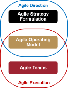 The Agile Operating Model connects Agile Direction and Agile Execution